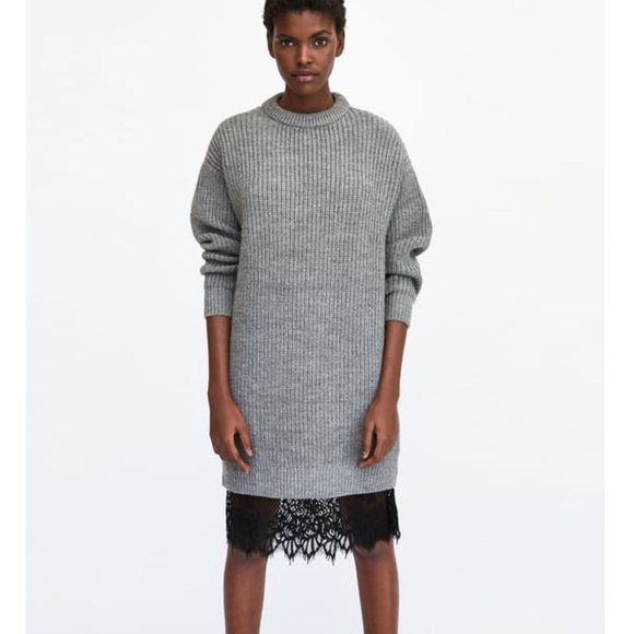 Zara Dresses Oversized Sweater Dress W Lace Trim Slip